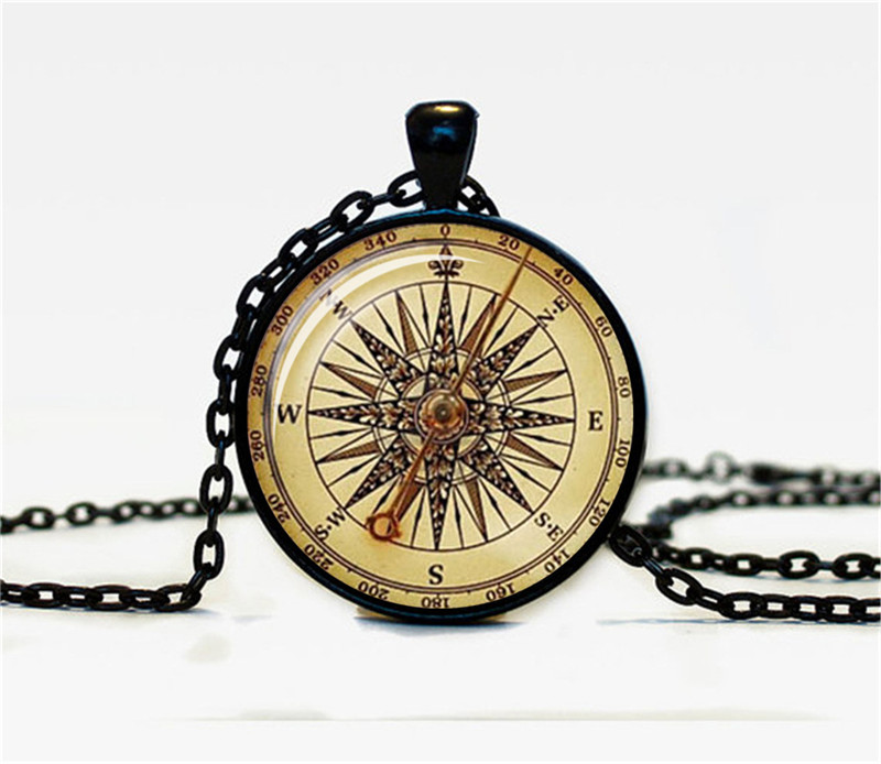 Antique Jewelry Bronze Color Compass Necklace with Cabochon Glass for men Christmas Gift