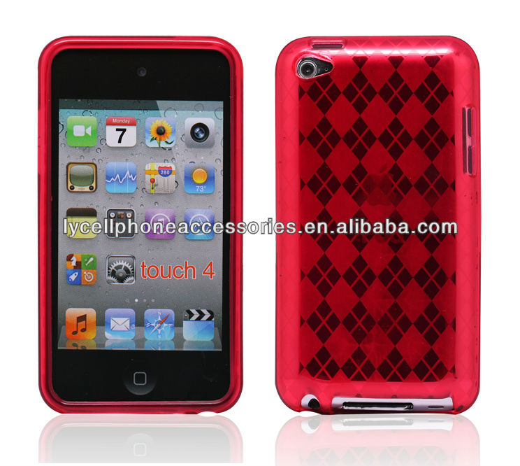 For Apple ipod Touch4 Red Checker Diamond TPU Soft Gel Cover