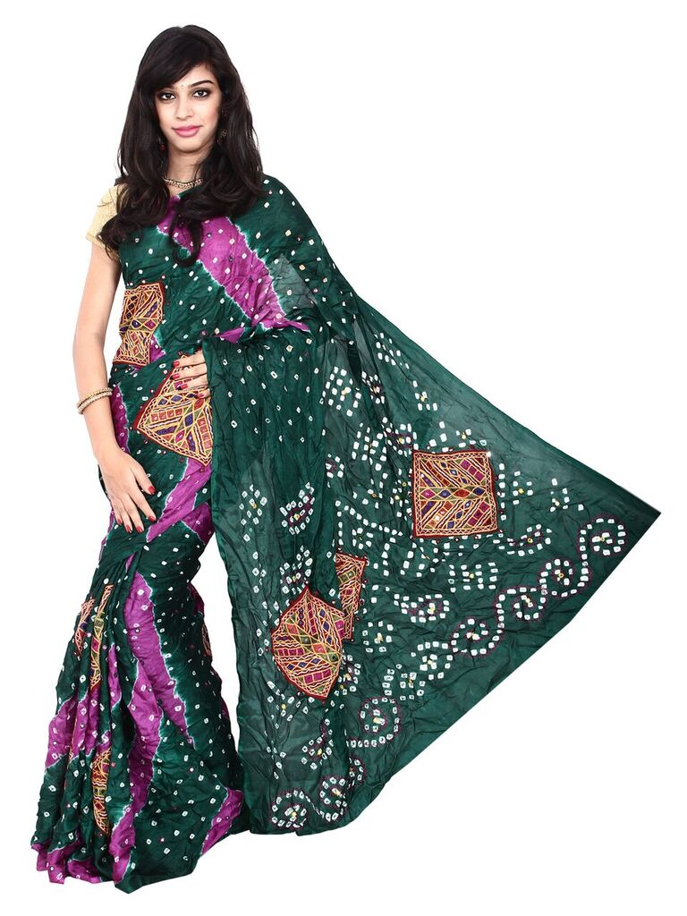 Kala Sanskruti Art Silk Dark Green Bandhani Saree