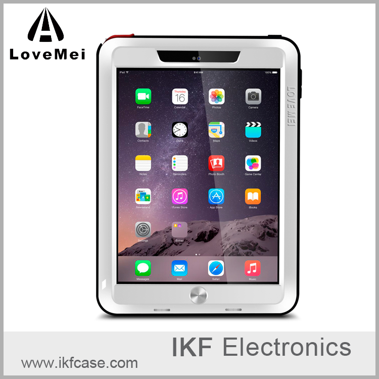 LOVE MEI Powerful Dirtproof Shockproof Waterproof 3 Proofs Metal Aluminum Case Cover with Gorilla Glass for IPAD Air