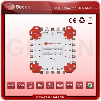 Gecen 2017 5X8 Cascade Satellite Multiswitch with LED 5 inputs 8 outputs Model MS-5508LC