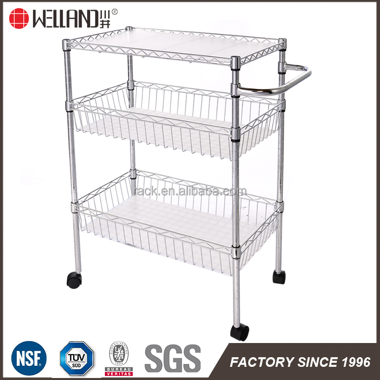 Kitchen cart 3 tier chrome metal wire basket with PP vegetable serving trolley carts