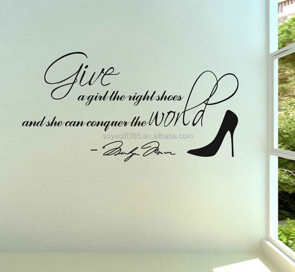 Wall Decal Quote Give A Girl The Right Shoes Marilyn Monroe Vinyl Sticker