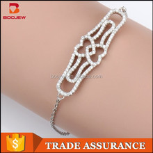 factory direct sale competitive price dignified jewelry two heart connected Italian charm fashion silver bracelet