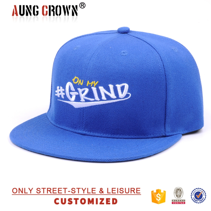 6 panel blue acrylic snapback cap with white strap