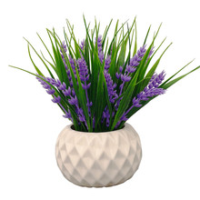 Wholesale Artificial Potted Plant for Home Decor Lavender Flowers and Grass Arrangements Tabletop Decoration