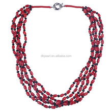 red coral handmade bead necklace multi layer designs