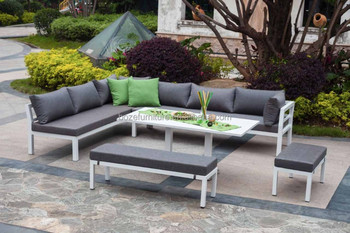 White aluminum frame sofa set garden sectional sofa set