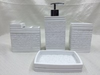 Classic White Color Design Resin 4pcs Bathroom accessories