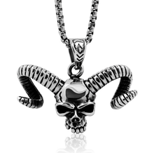Men's Skull Necklace Cow Horns Pendant Indian Ethnic Wholesale Wire Jewelry