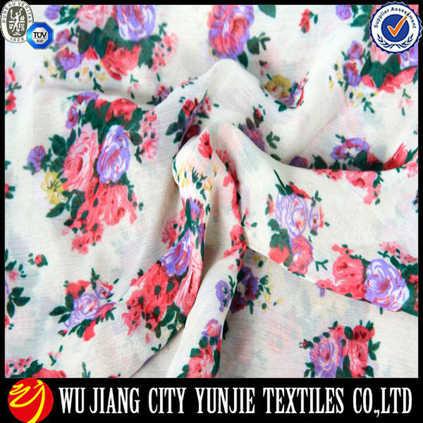flower design printed silk chiffon fabric