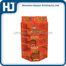 Printing round chocolate pie cardboard stand display,colorful corrugated round floor display for chocolate pie retail