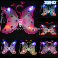 Wholesale sequin LED Butterfly fairy wings tutu set Halloween costumes for kids