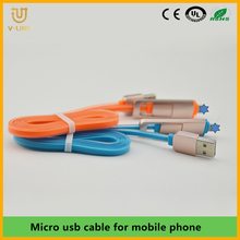 Wholesale male to male 2 in 1 usb cable for all phone
