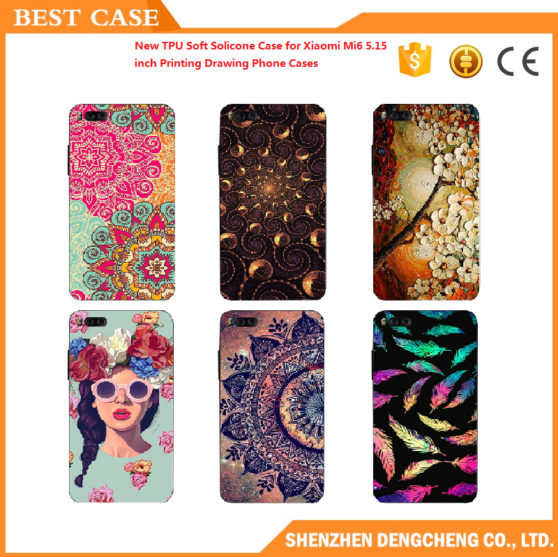 soft solicone 3d relief pattern sculpture tpu case for xiaomi mi6 5.15 inch printing drawing phone cases