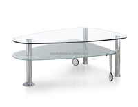 Morden Tempered Glass coffee table with wheels for Home furniture