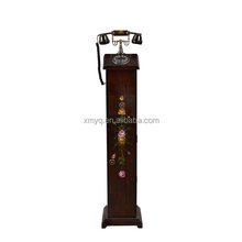 Vintage Wooden Fixed Telephone Old Style Antique Imitation Telephone For Home Decoration