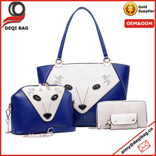 Blue Women 4Pcs Pu Leather Messenger Bag Fox Design Purse Shoulder Handbag Set