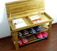 new design bamboo shoe rack bench with flexo accessories storage