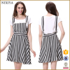 Wholesale Crepe Black And White Stripe A-line Skirt Dresses For Young Lady