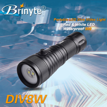 DIV08W 1500lumens red /white light diving video flashlight