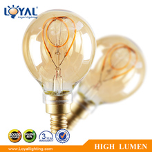 High efficiency IP20 Indoor glass cover cob a50 e14 2w led filament bulb