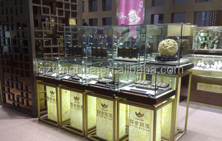 Luxurious Round Glass Jewelry Display Show Case Cabinets
