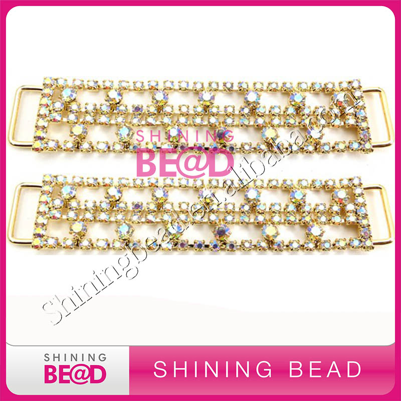 Gold Wholesale crystal rhinestone bikini connector buckle sew on for Bikini