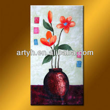abstract simple design oil painting of flower vase