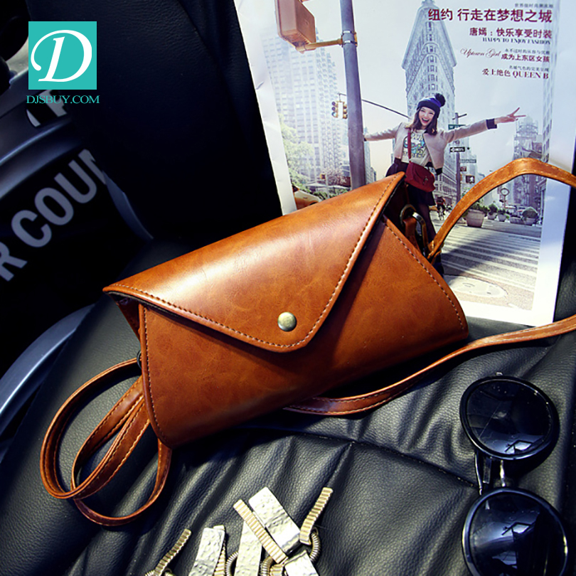 Latest lady's solid pu leather small shoulder bag brand vintage square messenger for women