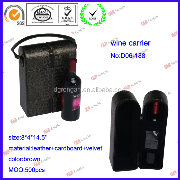 Elegant Black PU/PVC Leather Wine Box for Gift or Travel D06-188
