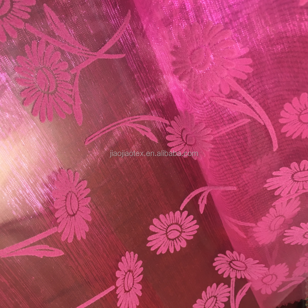 flocking organza fabric voile fabric