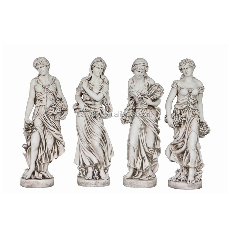 Large life size 120cm fiber clay lady garden statues