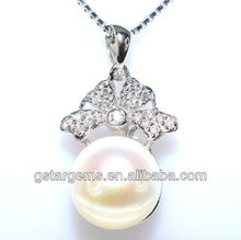 11mm AAA button frshwater pearl pendant silver