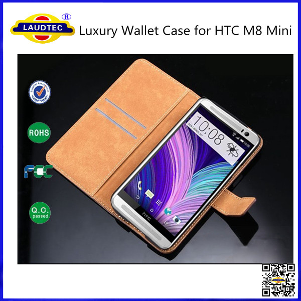 Genuine Real Leather Book Flip Wallet Case Cover for HTC One M8 Mini