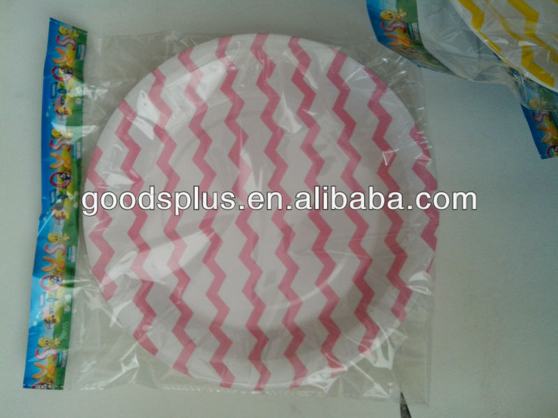 Fancy round printed paper plates with nice pink color