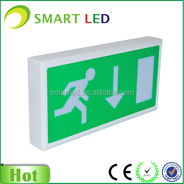 legend arrow down led rechargeable exit sign for building