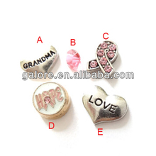 silver plating heart mini glass floating memory locket charms