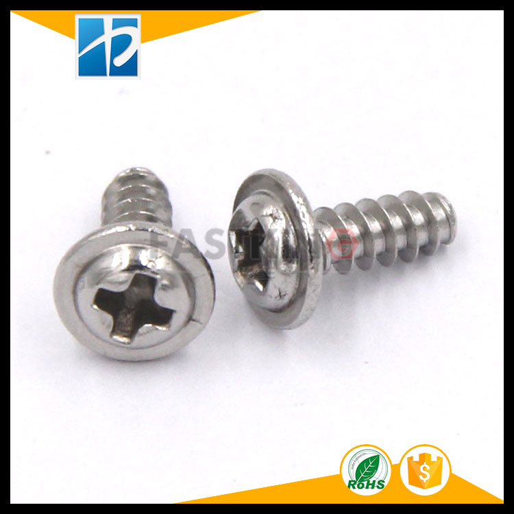 PWB round head phillips cross with mat end self-tapping pan head washer cap flat tail screw