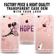 wholesale hot sell rose gloden case designs printing for girl hard transparent cell phone Case for iPhone 6s 6