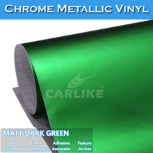 CARLIKE 1.52x20M Air Bubble Free Dark Green Chrome Matt Car Wrap Vinyl Film