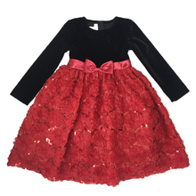Latest winter party embroidered velvet dress designs for flower girls