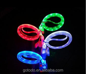 led light micro usb cable for Andriod/iphone