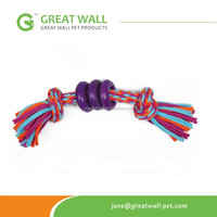 Dog Chew and Clean Teeth Weaving Rope toys with 3 small plastic rings