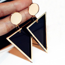 2018 jewelry hip hop 18k gold exaggerated geometric triangle acrylic pendant earrings for women