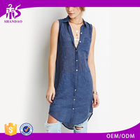2017 Summer Hot Selling Guangzhou Shandao New Model Casual Design Sleeveless V Neck Button Blue Cotton Women Dresses Istanbul