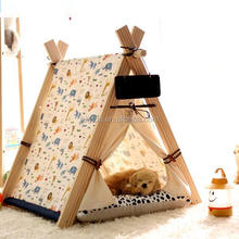 Foldable Indoor Wooden House For Pet Dog Cat Tent