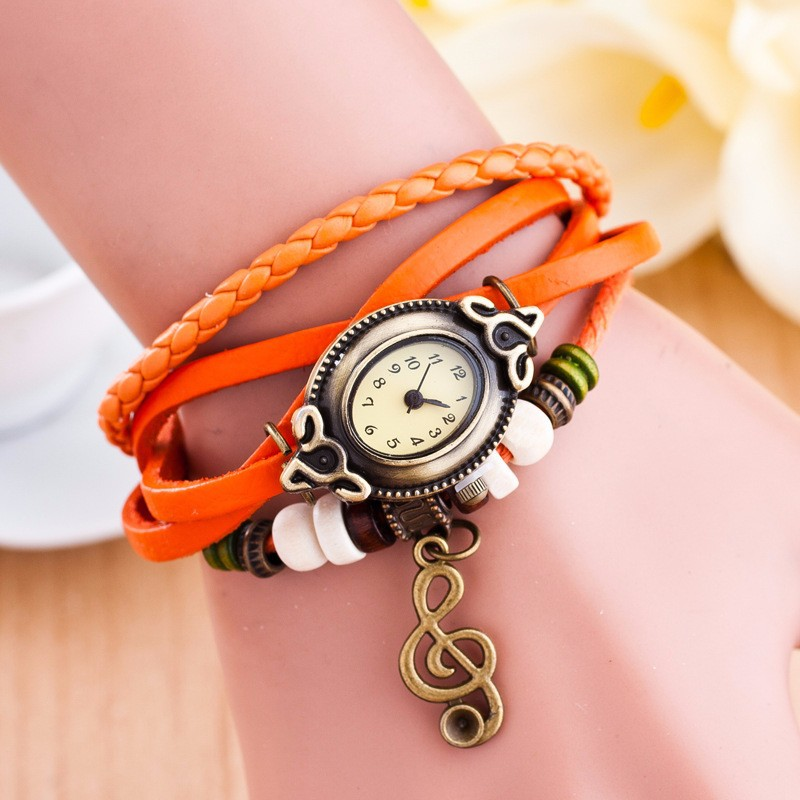 Vintage Style Special Lady PU Leather Fancy Wrist Watches For Women Vintage Women Dress Watch 11 Colors