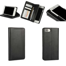 Black Multi function Leather Case cover for iphone 7 Plus