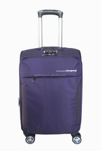 violet color real button hidden handle satin lining 3 pcs set luggage case with four wheels
